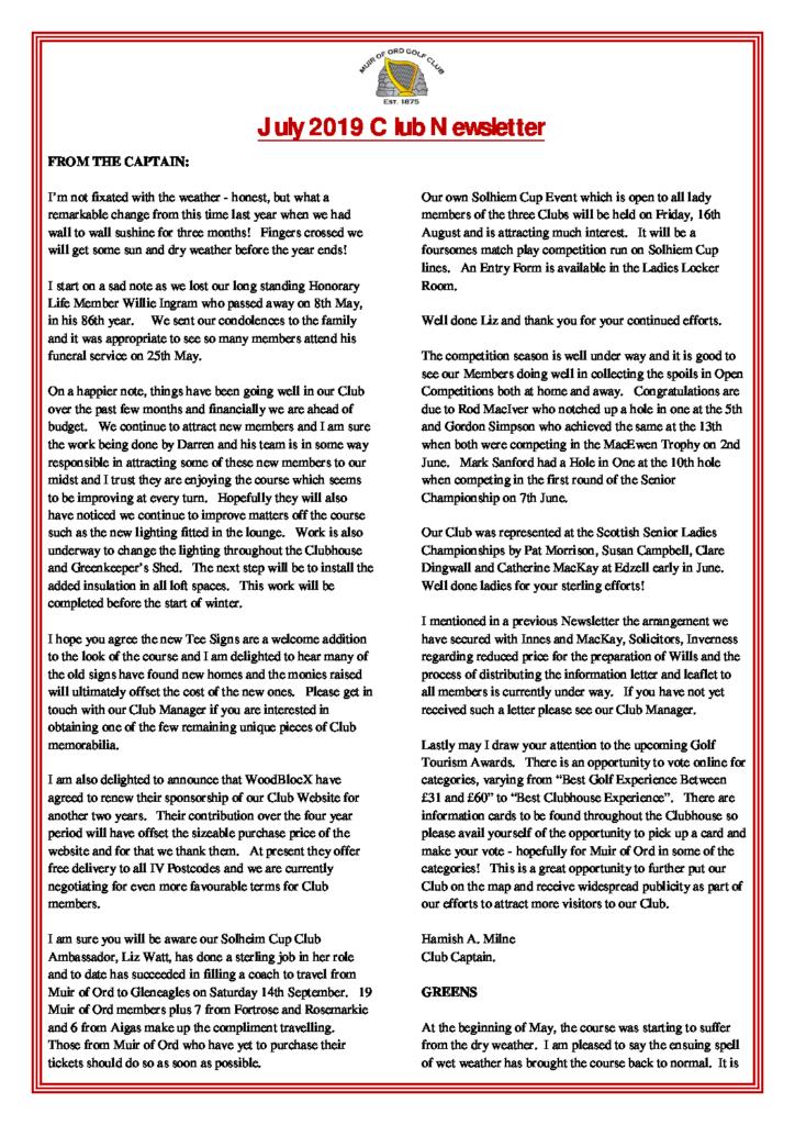 Muir of Ord Golf Club July 2019 Newsletter