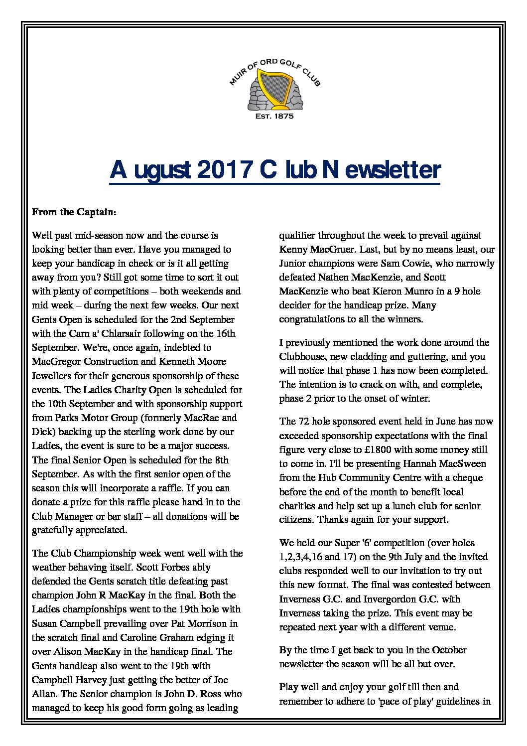 Muir of Ord Golf Club August Newsletter