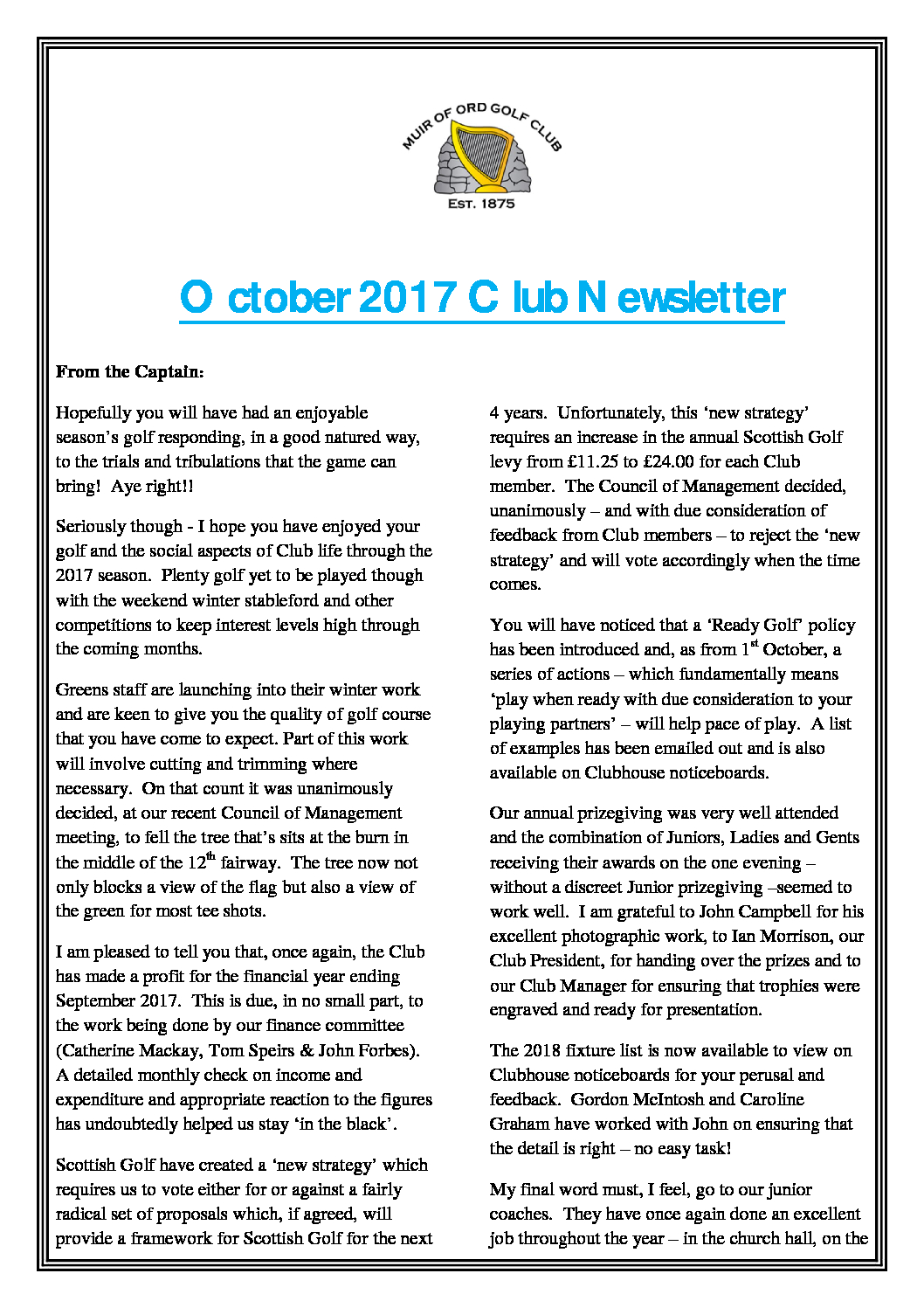 Muir of Ord Golf Club October Newsletter