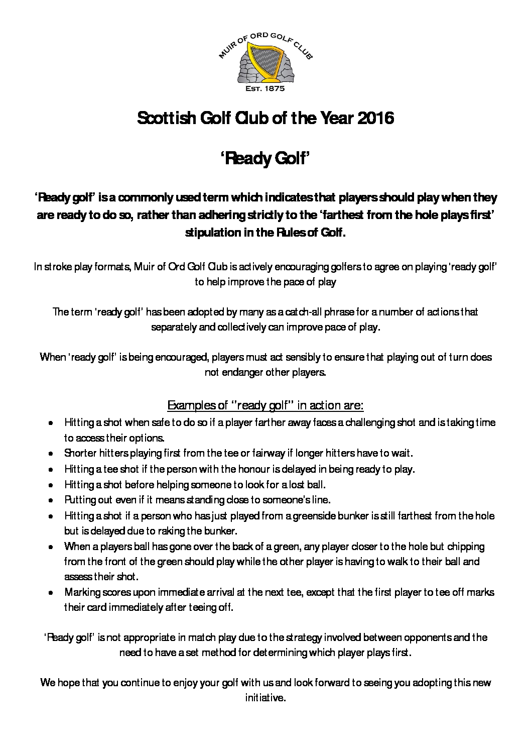 News & Events - Muir of Ord Golf Club