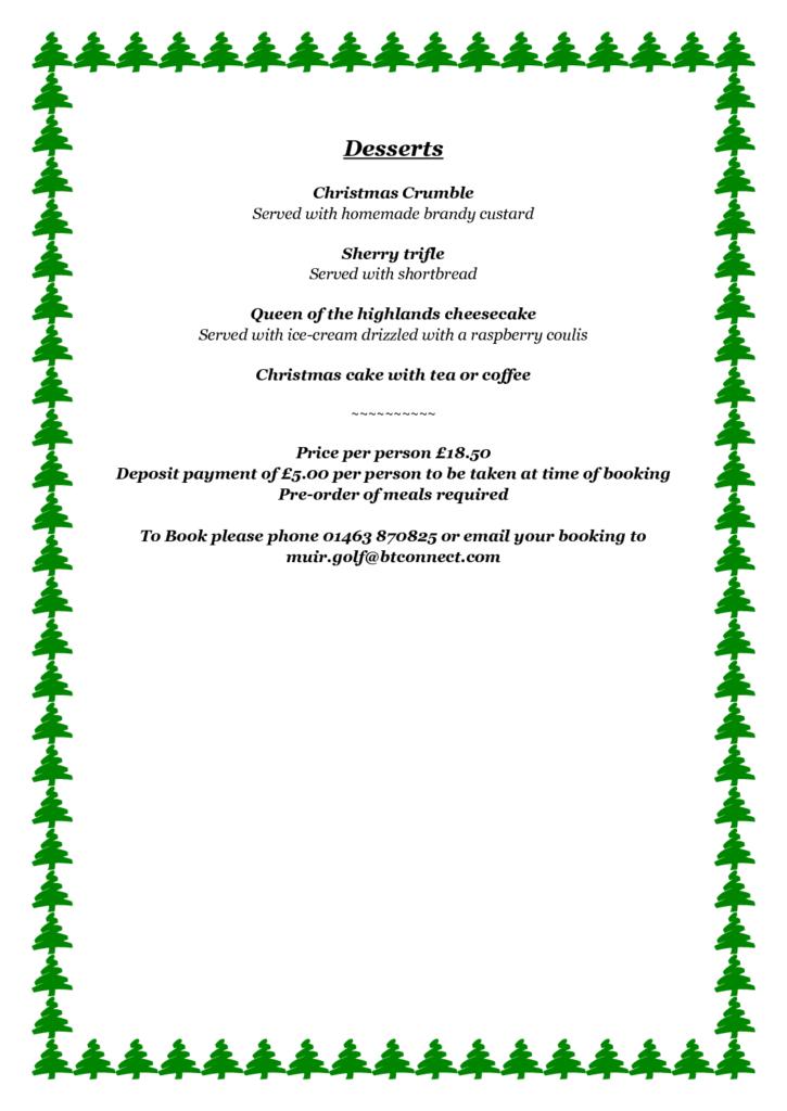 Muir of Ord Christmas Menu 2017