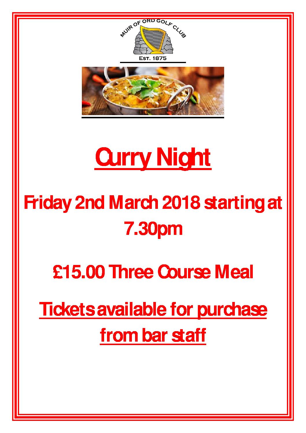 Muir of Ord Golf Club Curry Night