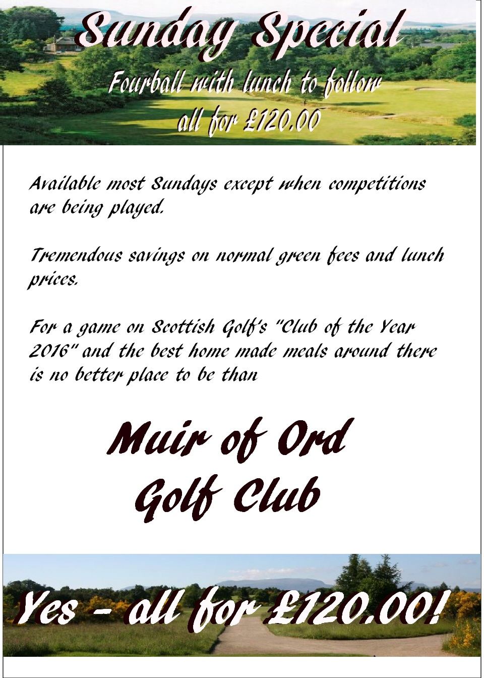 Sunday Four Ball Deal