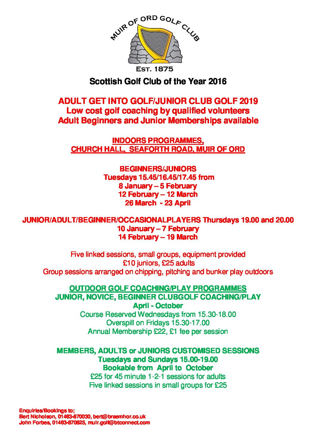Muir of Ord Golf Club Winter 2018/2019 Coaching Information