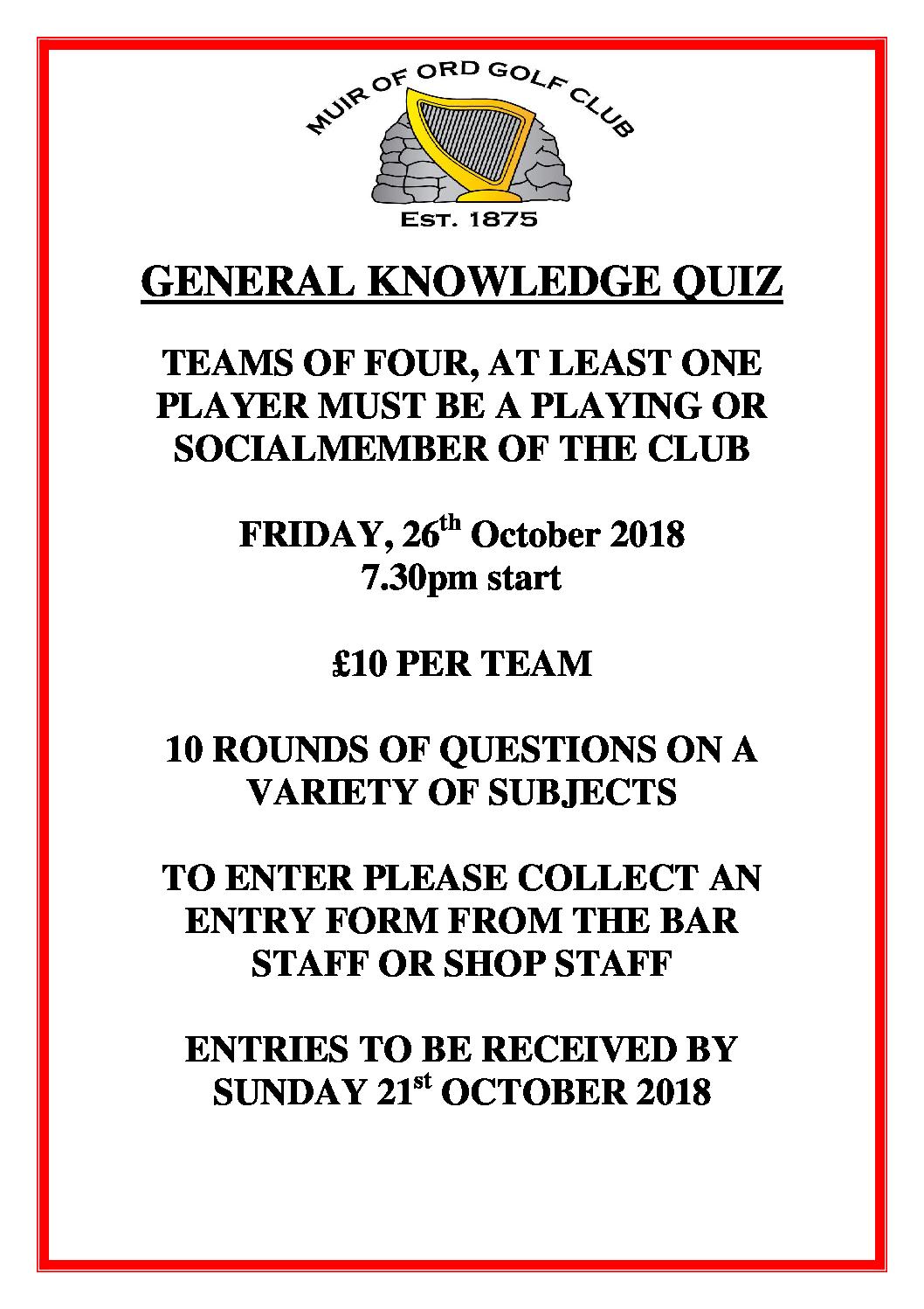 General Knowledge Quiz - Saturday 26th October 2018