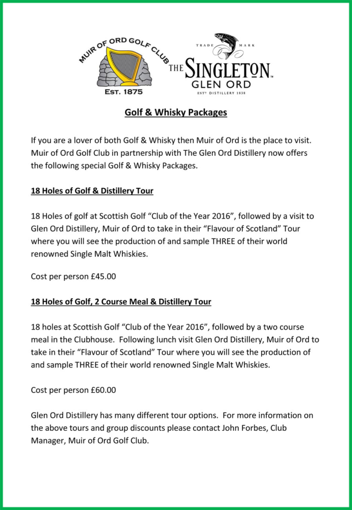 Golf Whisky Packages 2019