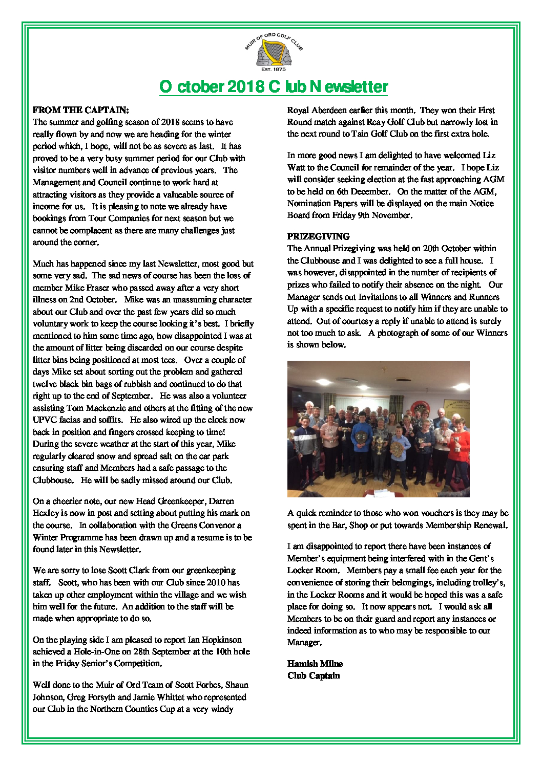 Muir of Ord Golf Club October 2018 Newsletter