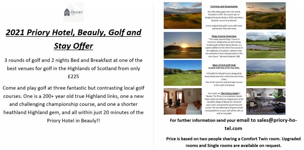 Muir of Ord, Kings & Fortrose Golf Club Stay and Play Package